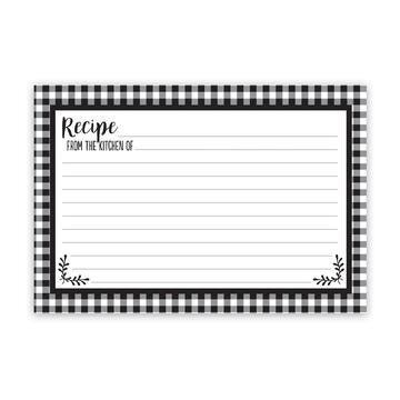 Black & White Checkered Recipe Cards