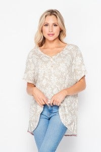 Ribbed Floral Top with Henley Buttons