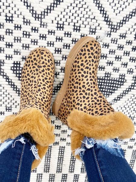 Bamboo Fur Cuffed Comfort Cheetah Booties