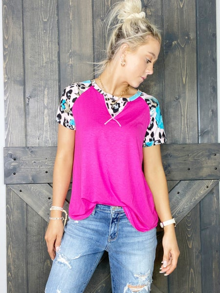 Fuchsia Top with Contrasting Sleeves