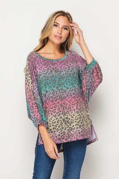 HoneyMe Sunset Leopard Puff Sleeve Top