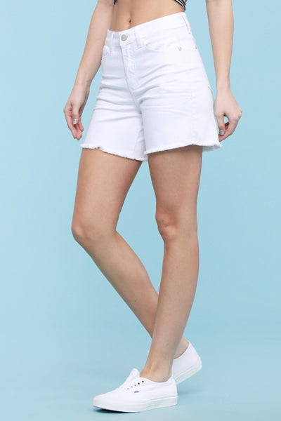 Judy Blue White Judy Blue Mid-Thigh Cut Off Shorts