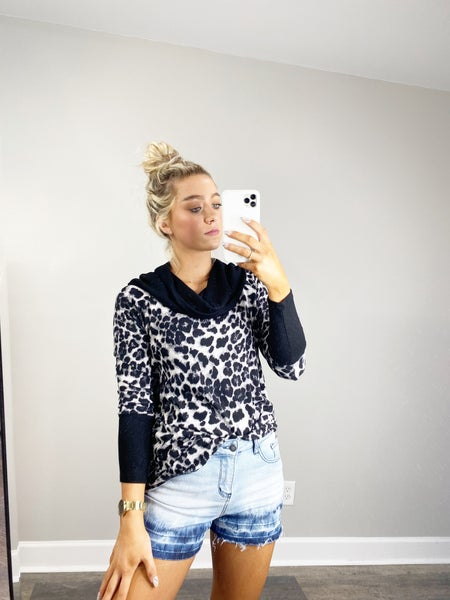 SMALL & MED ONLY - HoneyMe Gray and Black Animal Print Cowl Neck Top