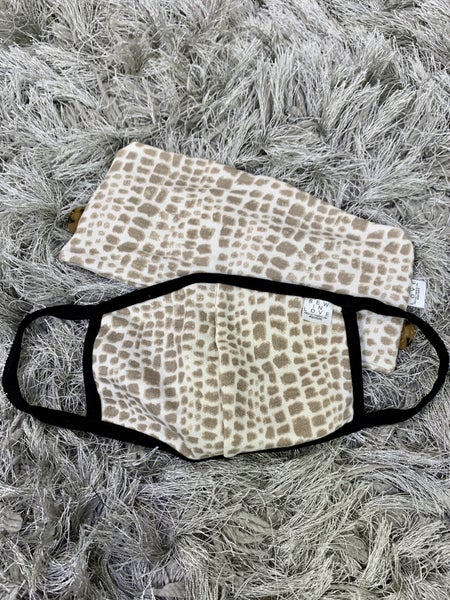 Giraffe Print Headband with Buttons and Face Covering