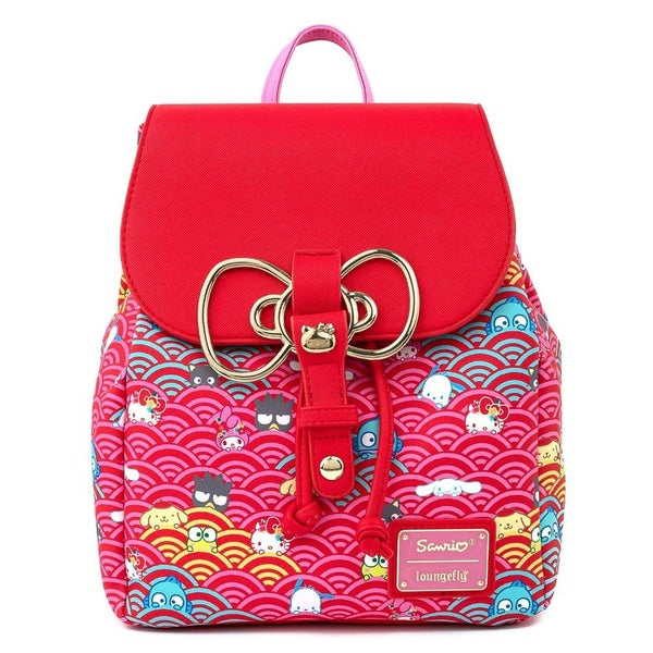 !LOUNGEFLY X SANRIO 60TH ANNIVERSARY GOLD BOW AOP MINI BACKPACK