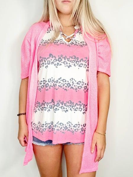 "Neon Pink 32"" Short Sleeve Light Weight Cardigan"