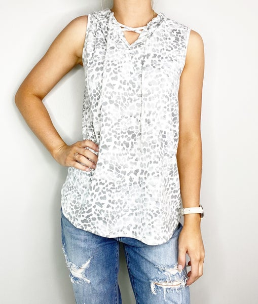Ivory and Heather Gray V-Neck Top