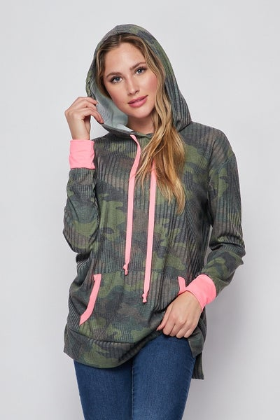 LAST ONE - HoneyMe Camo Hoodie with Pink Detail