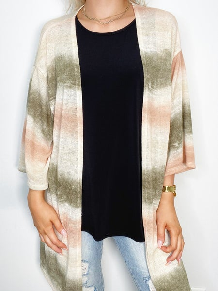 Olive and Peach Cardigan