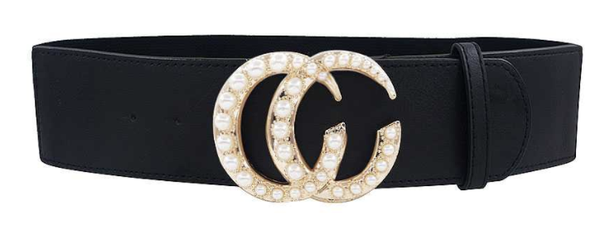 2 1/4 inch Black Belt with Pearl Buckle