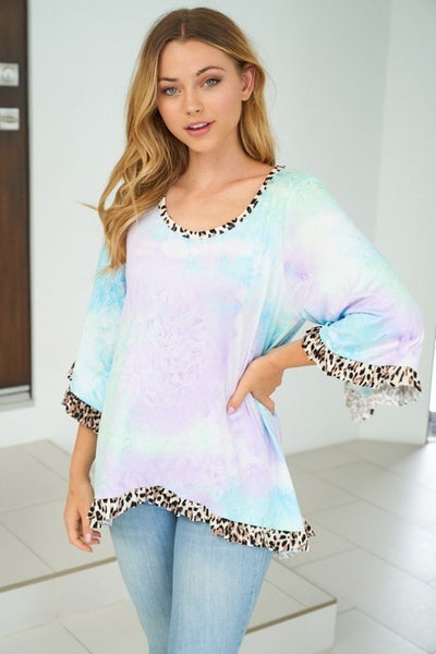 SMALL ONLY-Short Sleeve Tie Dye Knit Top