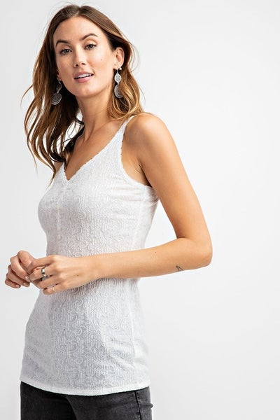 JUST A FEW LEFT - Sweet Lace Cami Tunic in White