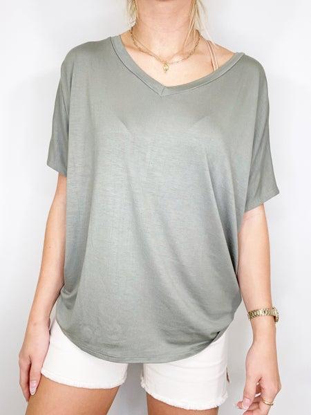 Olive Short Sleeve Dolman V-Neck Top
