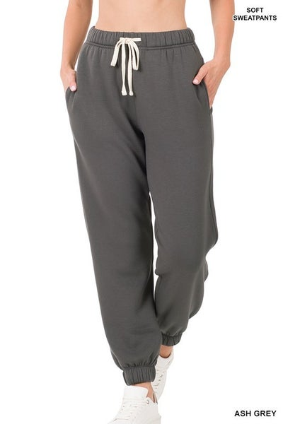Soft Stretch Sweatpants with Pockets in Plus ***MULTIPLE COLORS***