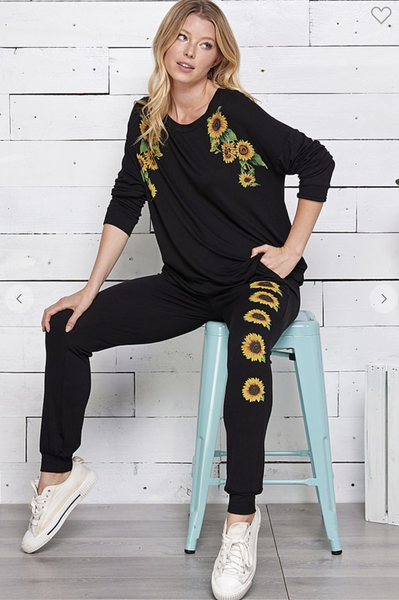 SUNFLOWER PRINTED L/S TOP