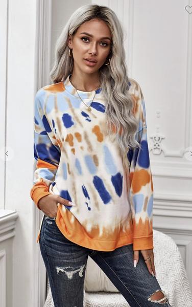 Orange Tie Dye Pullover Sweatshirt