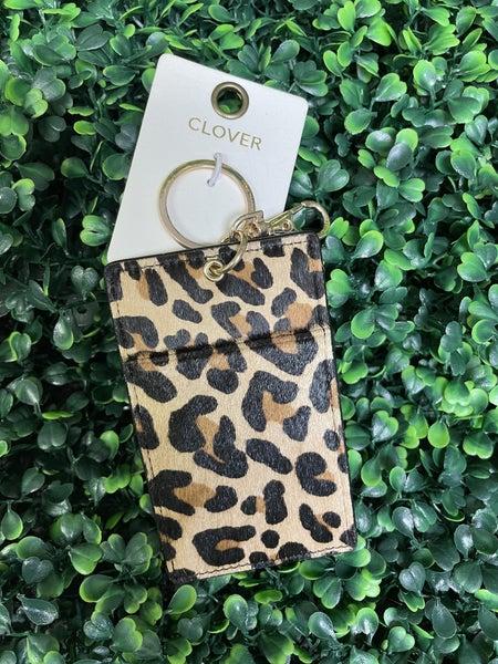 Cheetah Print Genuine Leather Wallet Key Ring