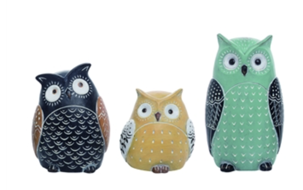 Resin Ornate Owl Set of 3
