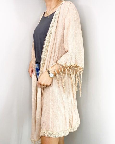Lightwieght Boho Fringe Drape Kimono