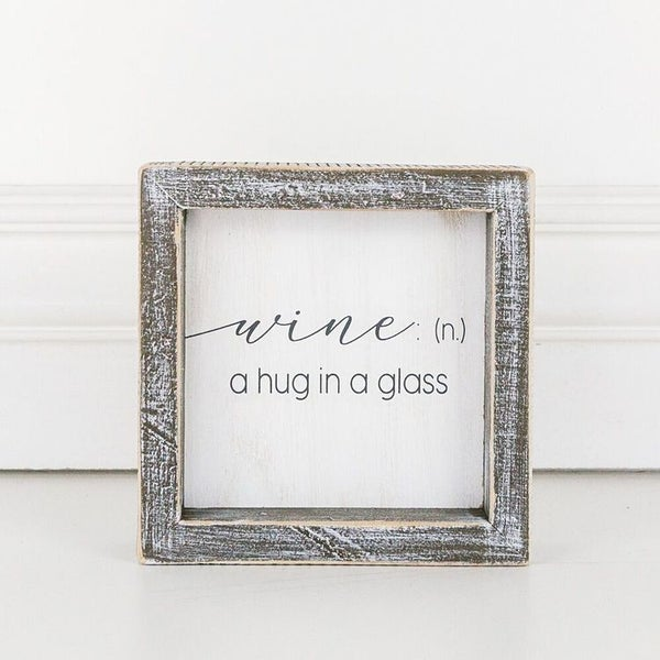 Hug in a Glass Framed Sign