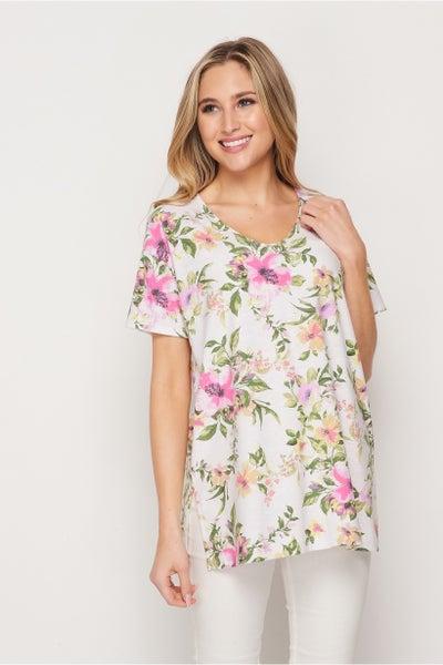 HoneyMe V-Neck Bright Floral Top