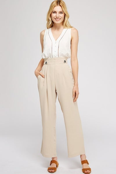 High Waist Pleat Pants with Pockets in Sand