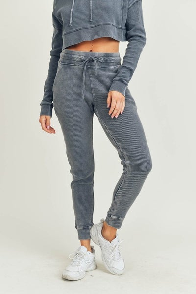 Waffled Mineral-Washed Joggers in Charcoal