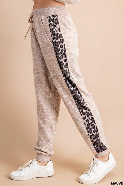 Animal Print Lounge Pants in Mauve