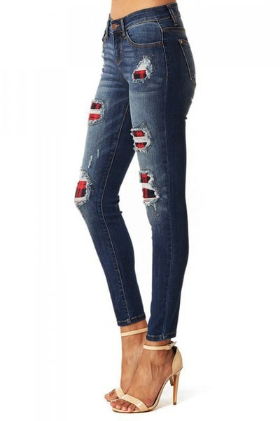 Judy Blue Buffalo Patch Distressed Skinny Jean