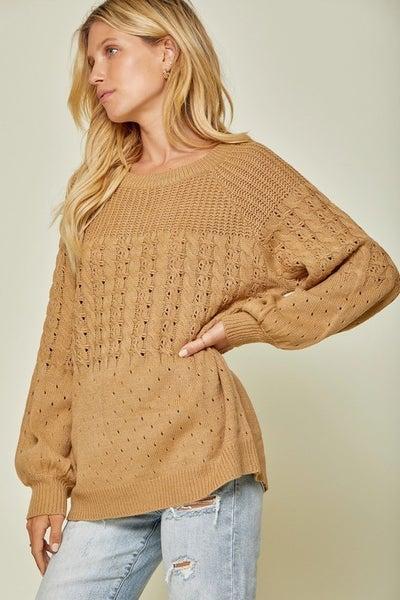 Textured Camel Light Weight Sweater