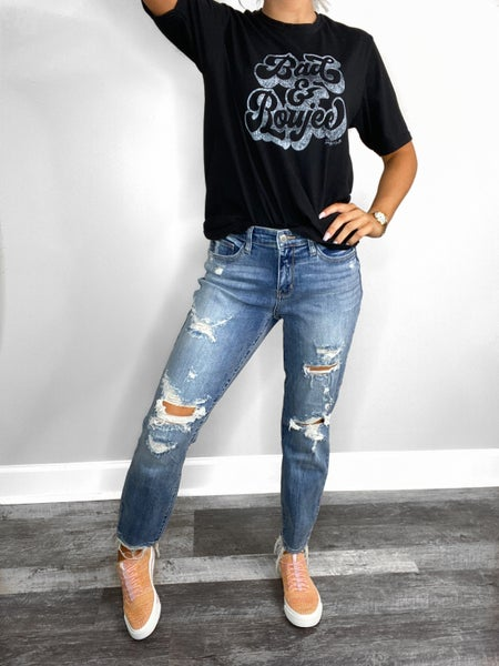 Judy Blue Mid Rise Medium Wash Destroyed Boyfriend Jeans