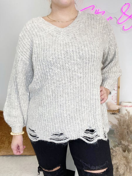 Oatmeal Sweater with Distressed Detail