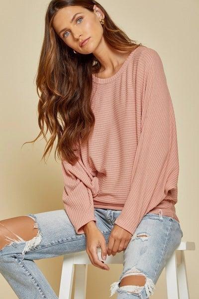 Mauve Dolman Sleeve Sweater Top
