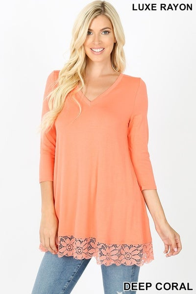 Luxe Rayon Lace Trim Hem Tunic Top in Deep Coral