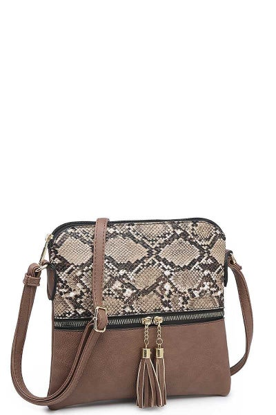 Crossbody Bag with Snake Print in Brown or Black