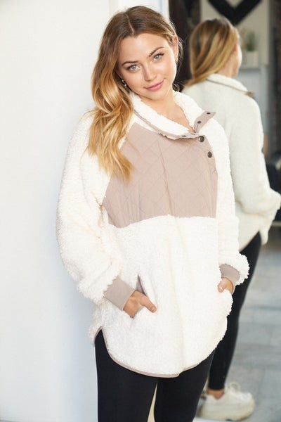 XL ONLY - White Birch Fleece Sweater with Quilted Top in Cream