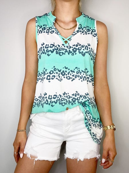 Charcoal and Mint V-Neck Top w/Criss Cross Neckline