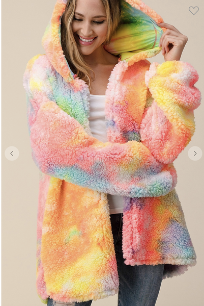 Tie Dye Fluffy Jacket in Pastel Rainbow Colors