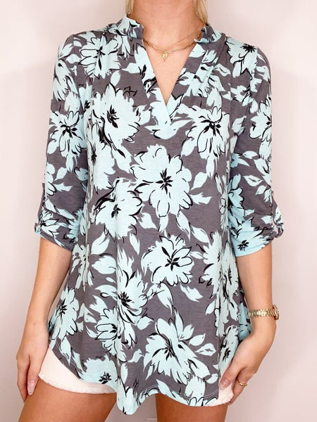 Mint and Gray Floral Gabby Top