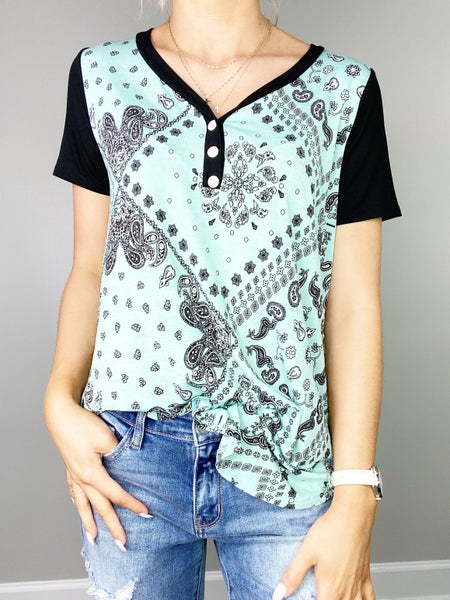 Mint Bandana Short Sleeve Top with Button Detail