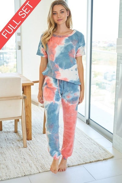MED ONLY-White Birch  Pink & Blue Tie Dye Knit Two Piece Set