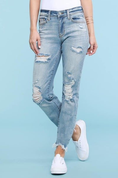 Judy Blue Light Wash Destroyed Hem Bleach Splash Boyfriend Jeans