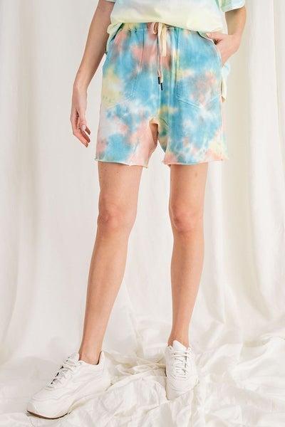 Splash Dye Knit Shorts in Aqua