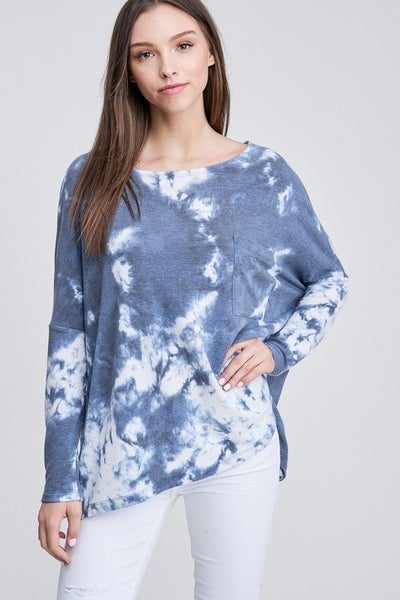 White Birch Oversized Stormy Cloud Tie Dye Top