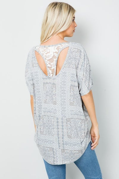 Aztec Print Dolman Lace Back Cut Out Top