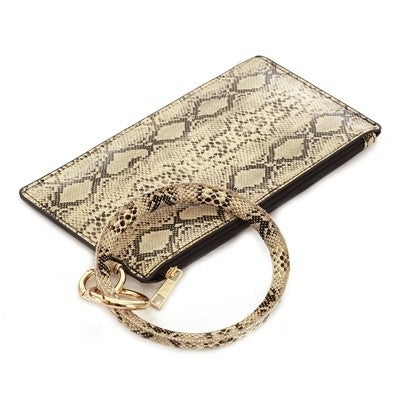 Vegan Leather Tan Snake Print Key Ring with Wallet Attachment