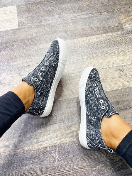 Corkys Babalu | Black Bandana Slip On Sneakers