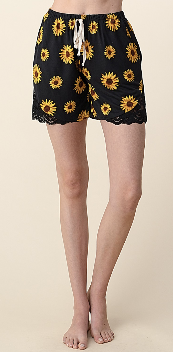 SMALL ONLY Sunflower Print Shorts with Lace Detail