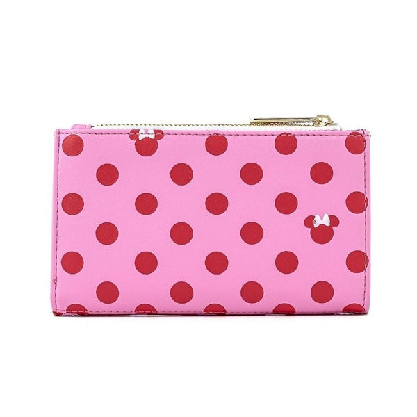 LOUNGEFLY X DISNEY MINNIE MOUSE PINK & RED POLKA DOT FLAP WALLET