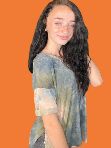 Olive & Peach Tie Dye V-neck top with Cuffed Sleeves
